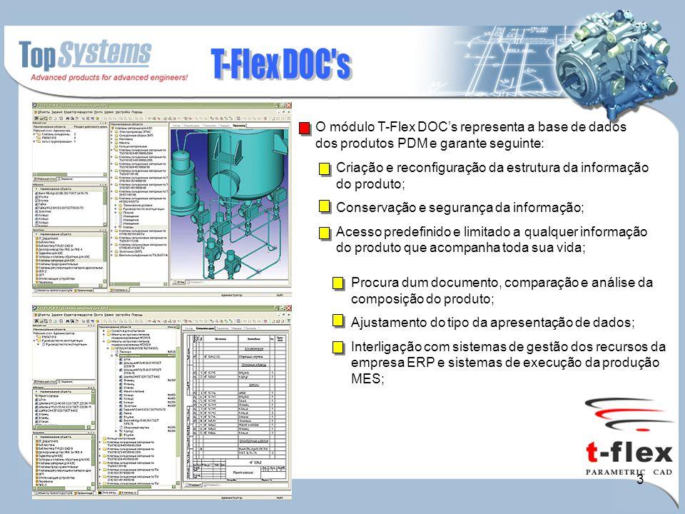3 O módulo T-Flex DOC's representa a base de dados dos produtos PDM e garante seguinte: Criação e reconfiguração da estrutura da informação do produto