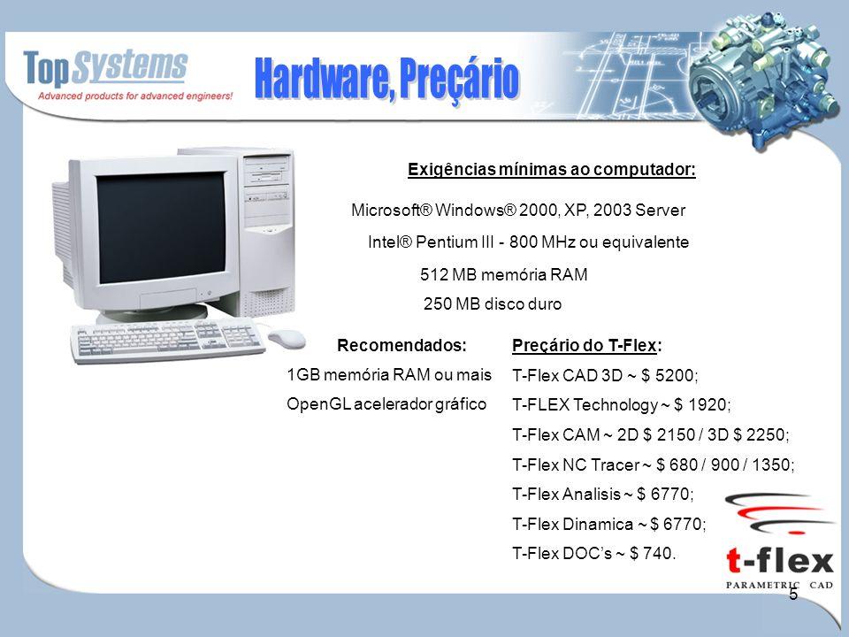 5 OpenGL acelerador gráfico Exigências mínimas ao computador: Recomendados: Microsoft® Windows® 2000, XP, 2003 Server Intel® Pentium III - 800 MHz ou