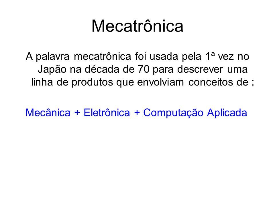 Mecatrônica A palavra mecatrônica foi usada pela 1ª vez no Japão na década de 70 para descrever uma linha de produtos que envolviam conceitos de : Mecânica + Eletrônica + Computação Aplicada