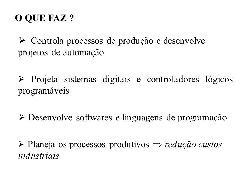 O QUE FAZ ?  Controla processos de produção e desenvolve projetos de automação   Projeta sistemas digitais e controladores lógicos programáveis
