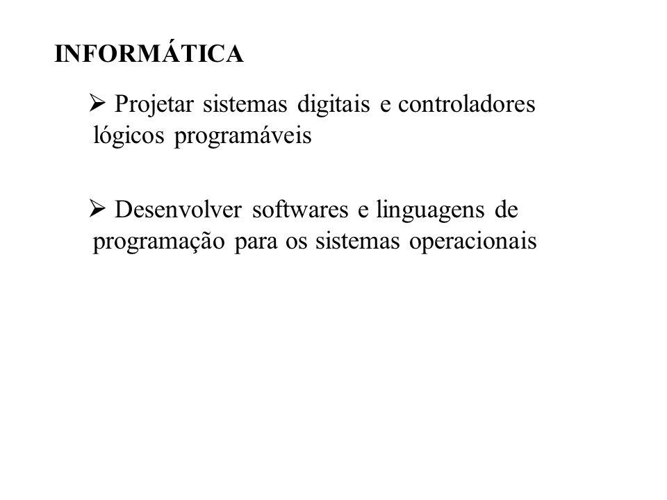 INFORMÁTICA  Projetar sistemas digitais e controladores lógicos programáveis  Desenvolver softwares e linguagens de programação para os sistemas ope