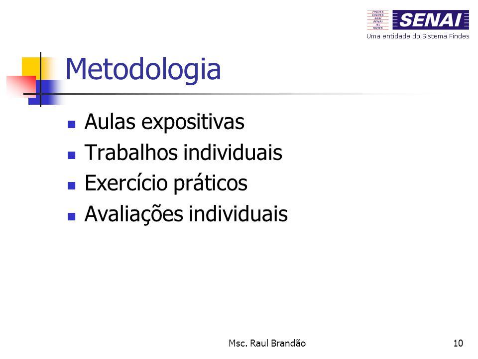 Msc. Raul Brandão10 Metodologia Aulas expositivas Trabalhos individuais Exercício práticos Avaliações individuais