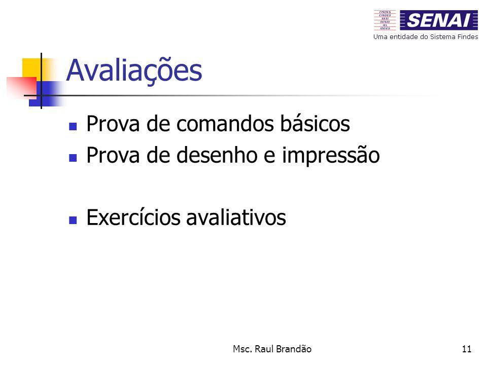 Msc. Raul Brandão11 Avaliações Prova de comandos básicos Prova de desenho e impressão Exercícios avaliativos