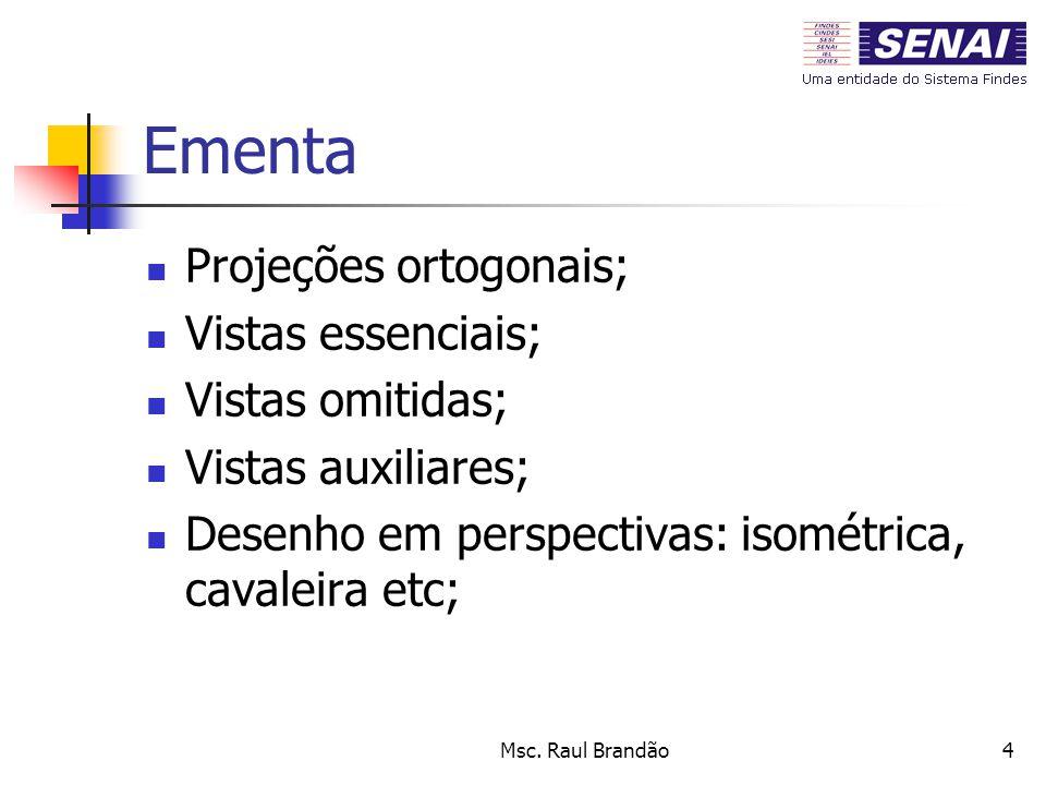 Msc. Raul Brandão4 Ementa Projeções ortogonais; Vistas essenciais; Vistas omitidas; Vistas auxiliares; Desenho em perspectivas: isométrica, cavaleira