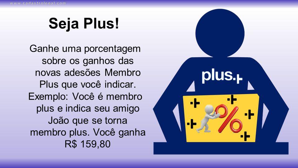 Seja Plus.Ganhe uma porcentagem sobre os ganhos das novas adesões Membro Plus que você indicar.