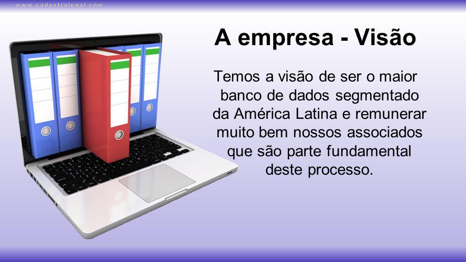 A empresa - Visão Temos a visão de ser o maior banco de dados segmentado da América Latina e remunerar muito bem nossos associados que são parte fundamental deste processo.