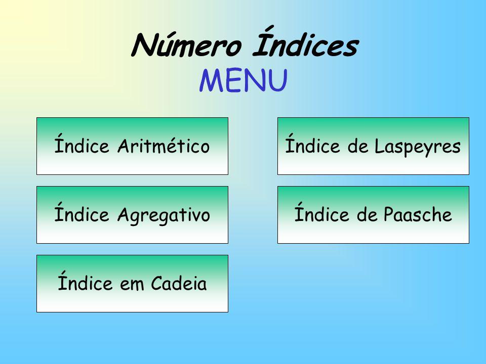 Número Índices MENU Índice Aritmético Índice Agregativo Índice em Cadeia Índice de Laspeyres Índice de Paasche