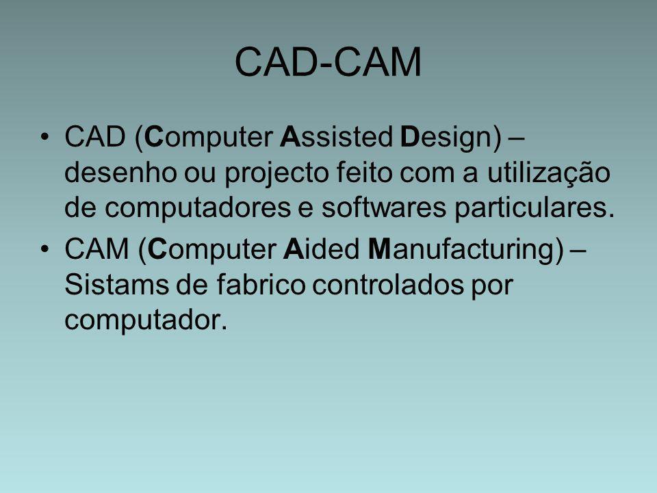 CAD-CAM CAD (Computer Assisted Design) – desenho ou projecto feito com a utilização de computadores e softwares particulares. CAM (Computer Aided Manu