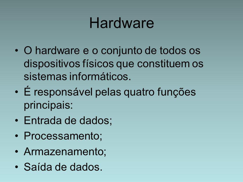 Hardware O hardware e o conjunto de todos os dispositivos físicos que constituem os sistemas informáticos. É responsável pelas quatro funções principa