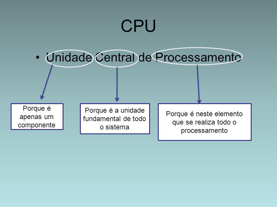 CPU Unidade Central de Processamento Porque é apenas um componente Porque é a unidade fundamental de todo o sistema Porque é neste elemento que se rea