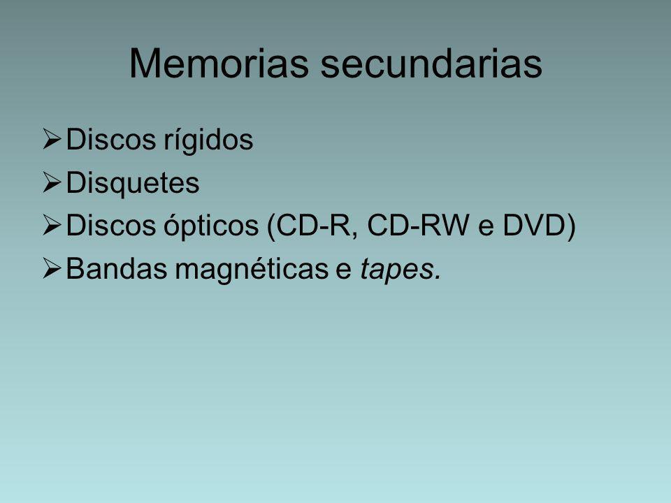 Memorias secundarias  Discos rígidos  Disquetes  Discos ópticos (CD-R, CD-RW e DVD)  Bandas magnéticas e tapes.