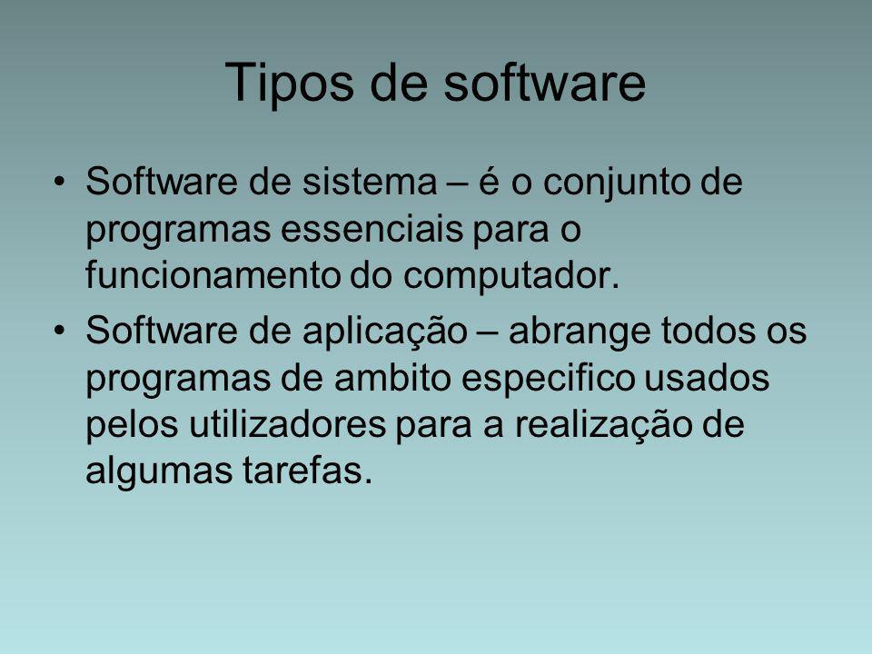 Tipos de software Software de sistema – é o conjunto de programas essenciais para o funcionamento do computador. Software de aplicação – abrange todos