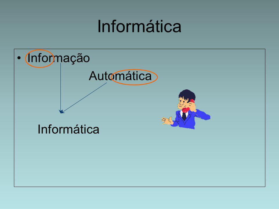 Informática é o tratamento da informação utilizando meios automáticos dai vem o nome de informática visto anteriormente.
