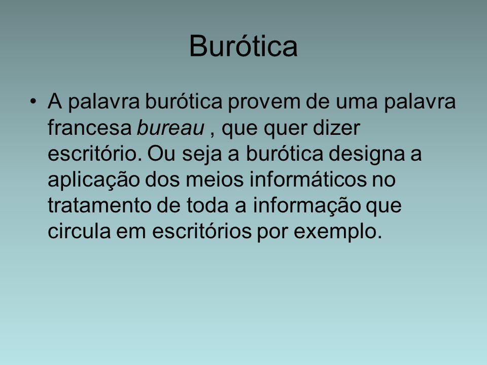 Burótica A palavra burótica provem de uma palavra francesa bureau, que quer dizer escritório. Ou seja a burótica designa a aplicação dos meios informá