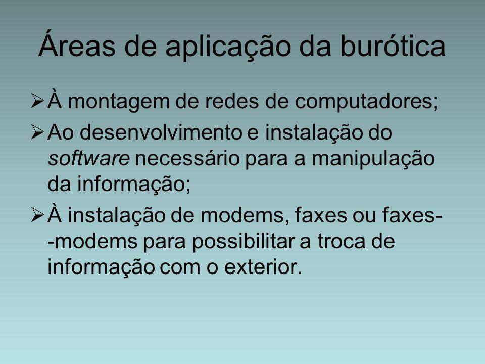 Áreas de aplicação da burótica  À montagem de redes de computadores;  Ao desenvolvimento e instalação do software necessário para a manipulação da i