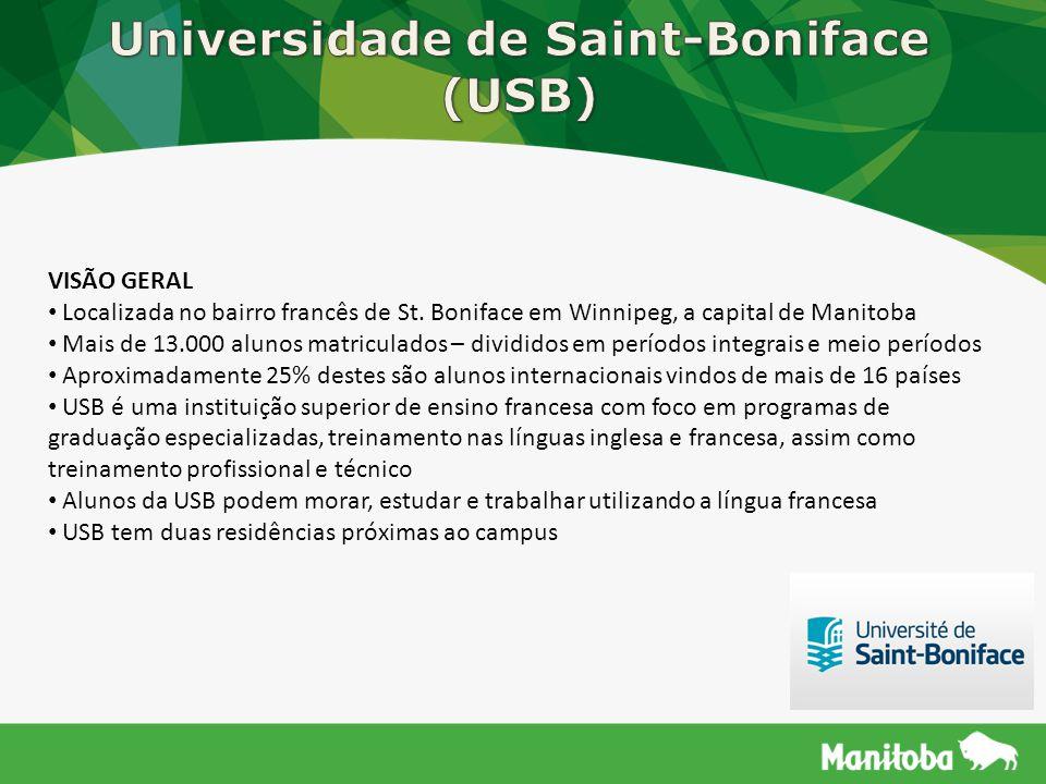 VISÃO GERAL Localizada no bairro francês de St. Boniface em Winnipeg, a capital de Manitoba Mais de 13.000 alunos matriculados – divididos em períodos