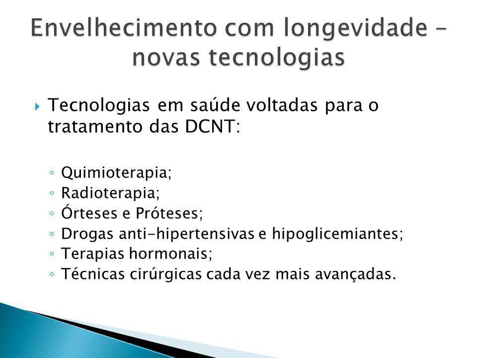  Tecnologias em saúde voltadas para o tratamento das DCNT: ◦ Quimioterapia; ◦ Radioterapia; ◦ Órteses e Próteses; ◦ Drogas anti-hipertensivas e hipoglicemiantes; ◦ Terapias hormonais; ◦ Técnicas cirúrgicas cada vez mais avançadas.