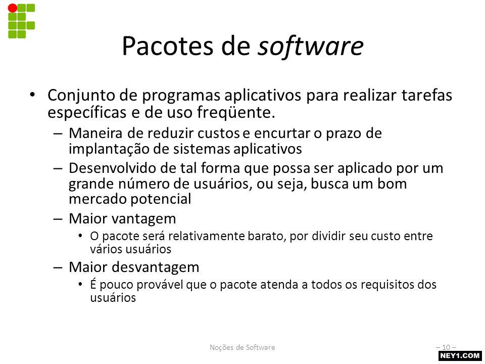 Pacotes de software Conjunto de programas aplicativos para realizar tarefas específicas e de uso freqüente. – Maneira de reduzir custos e encurtar o p