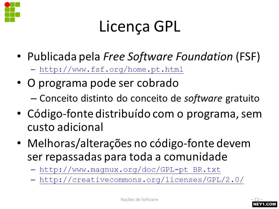 Licença GPL Publicada pela Free Software Foundation (FSF) – http://www.fsf.org/home.pt.html O programa pode ser cobrado – Conceito distinto do conceit