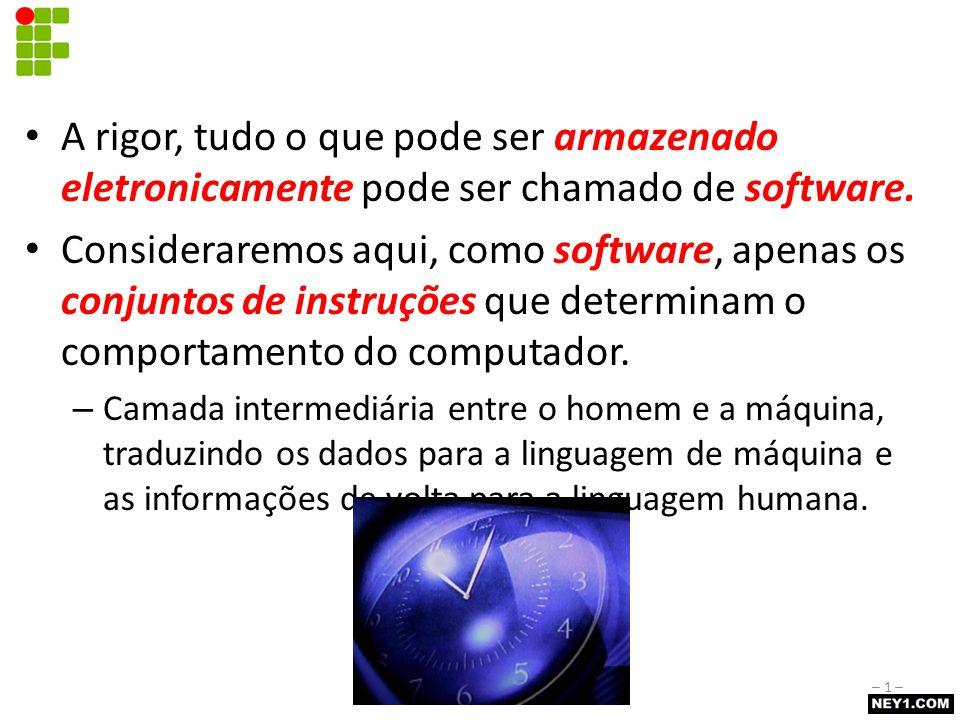 Licença GPL Publicada pela Free Software Foundation (FSF) – http://www.fsf.org/home.pt.html O programa pode ser cobrado – Conceito distinto do conceito de software gratuito Código-fonte distribuído com o programa, sem custo adicional Melhoras/alterações no código-fonte devem ser repassadas para toda a comunidade – http://www.magnux.org/doc/GPL-pt_BR.txt – http://creativecommons.org/licenses/GPL/2.0/ Noções de Software– 12 –