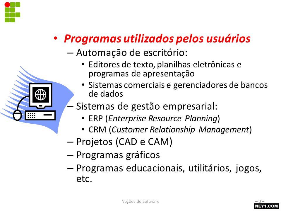 Software aplicativo Programas utilizados pelos usuários – Automação de escritório: Editores de texto, planilhas eletrônicas e programas de apresentaçã
