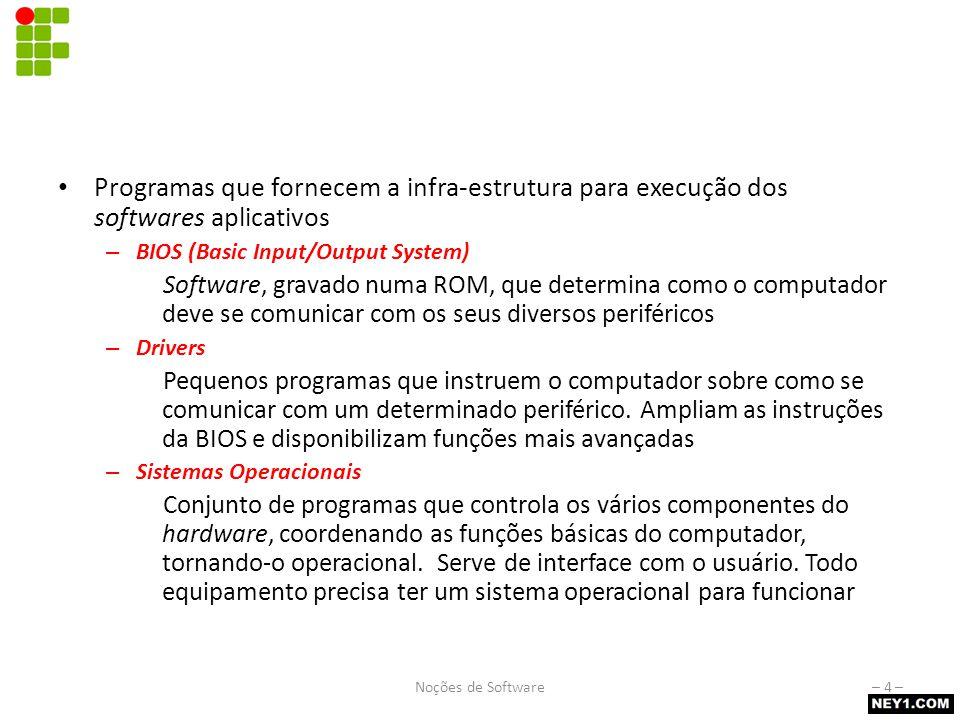 Software básico Programas que fornecem a infra-estrutura para execução dos softwares aplicativos – BIOS (Basic Input/Output System) Software, gravado