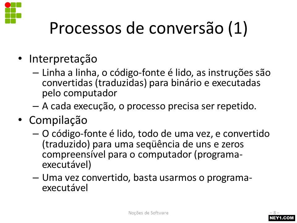 Processos de conversão (2) Programas CompiladosInterpretados Vantagens Não permitem alterações no código-fonte (oferece maior segurança) Muito mais rápidos que os programas interpretados Normalmente permitem alteração no código-fonte (mutabilidade) Multiplataforma Tamanho reduzido Desvantagens Presos à plataforma onde foram compilados Mais lentos que os programas-executáveis Necessitam de um interpretador (runtime) para serem executados Noções de Software– 9 –