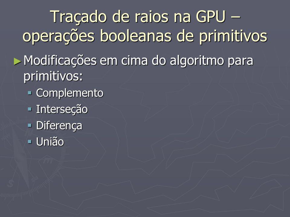 Traçado de raios na GPU – operações booleanas de primitivos ► Modificações em cima do algoritmo para primitivos:  Complemento  Interseção  Diferenç