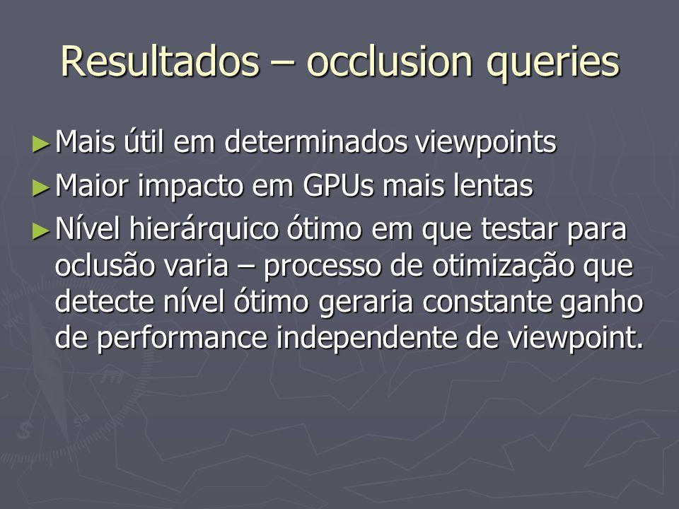► Mais útil em determinados viewpoints ► Maior impacto em GPUs mais lentas ► Nível hierárquico ótimo em que testar para oclusão varia – processo de ot