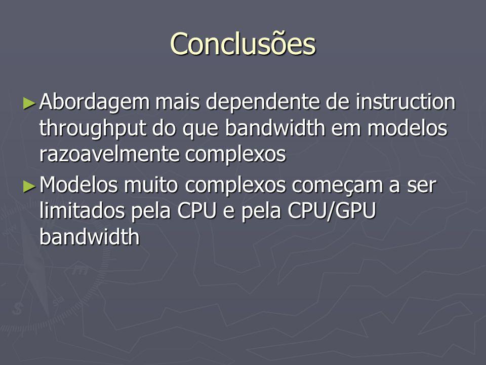 Conclusões ► Abordagem mais dependente de instruction throughput do que bandwidth em modelos razoavelmente complexos ► Modelos muito complexos começam