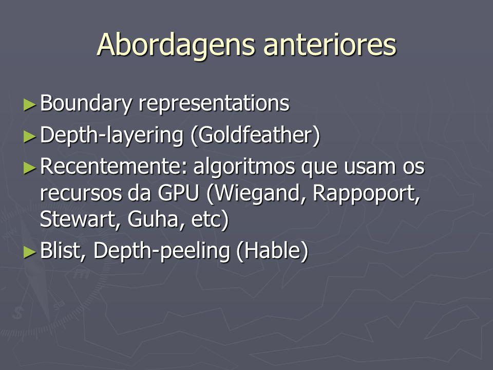 Abordagens anteriores ► Boundary representations ► Depth-layering (Goldfeather) ► Recentemente: algoritmos que usam os recursos da GPU (Wiegand, Rappo