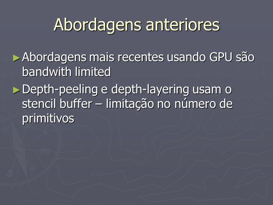 Abordagens anteriores ► Abordagens mais recentes usando GPU são bandwith limited ► Depth-peeling e depth-layering usam o stencil buffer – limitação no