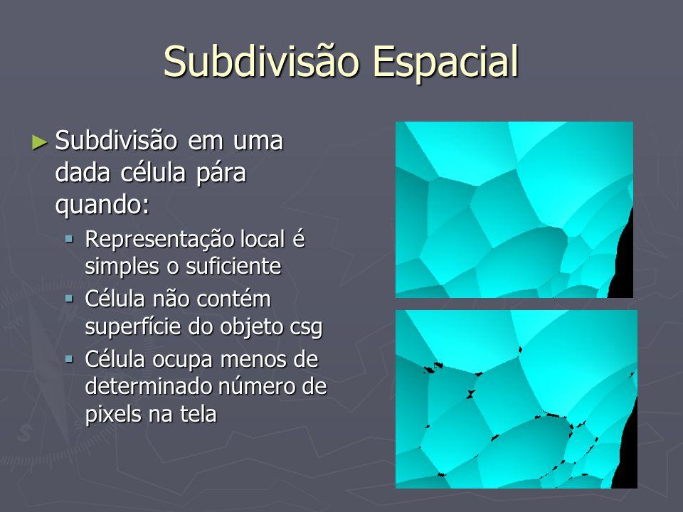 Subdivisão Espacial ► Subdivisão em uma dada célula pára quando:  Representação local é simples o suficiente  Célula não contém superfície do objeto