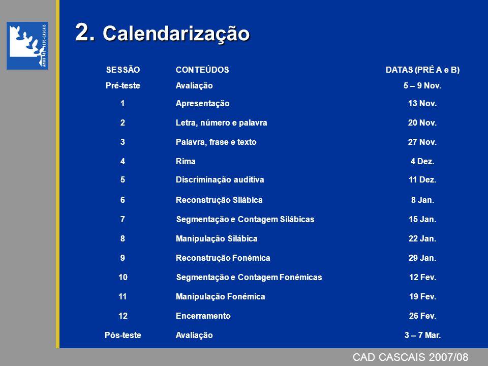 2.Calendarização 2. Calendarização SESSÃOCONTEÚDOSDATAS (PRÉ A e B) Pré-testeAvaliação5 – 9 Nov.