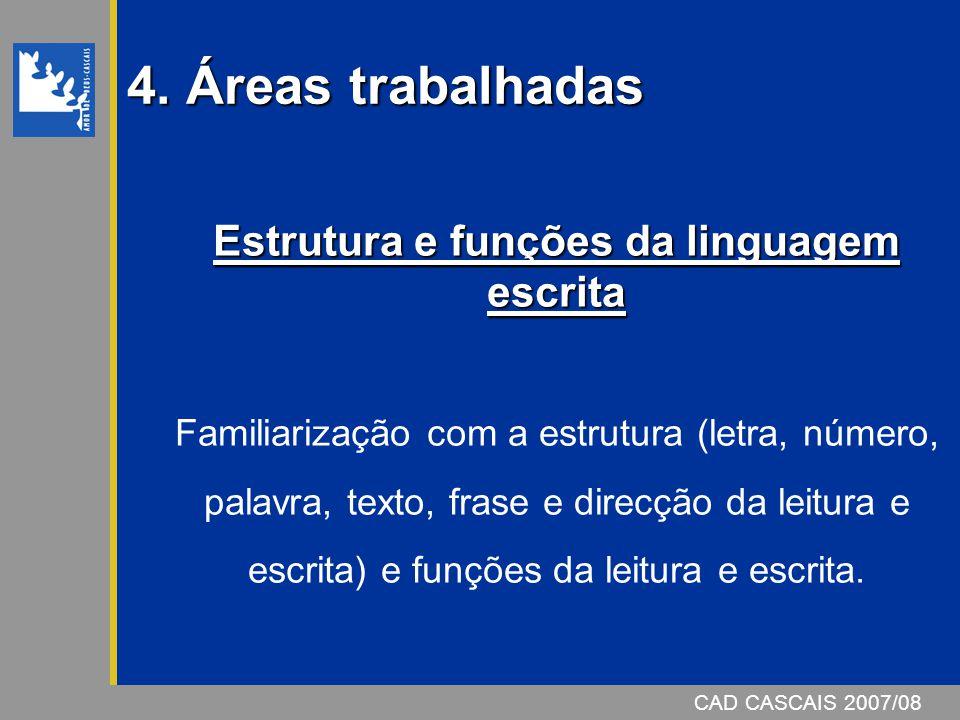 4. Áreas trabalhadas Estrutura e funções da linguagem escrita Familiarização com a estrutura (letra, número, palavra, texto, frase e direcção da leitu