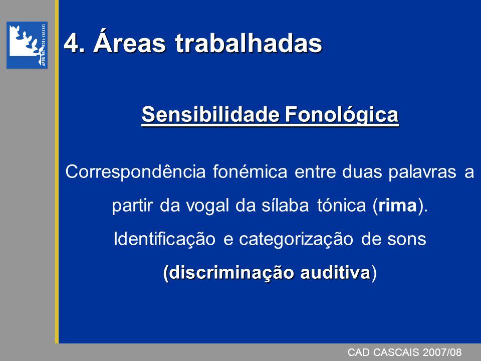 4. Áreas trabalhadas CAD CASCAIS 2007/08 Sensibilidade Fonológica (discriminação auditiva Correspondência fonémica entre duas palavras a partir da vog