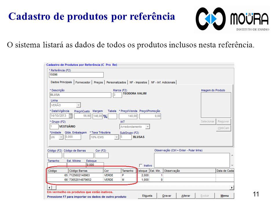 O sistema listará as dados de todos os produtos inclusos nesta referência.