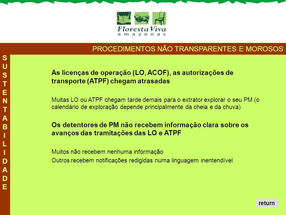 SUSTENTABILIDADESUSTENTABILIDADE PROCEDIMENTOS NÃO TRANSPARENTES E MOROSOS As licenças de operação (LO, ACOF), as autorizações de transporte (ATPF) ch
