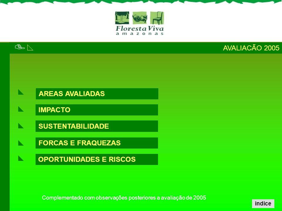 IMPACTO SUSTENTABILIDADE FORCAS E FRAQUEZAS AVALIACÃO 2005 AREAS AVALIADAS OPORTUNIDADES E RISCOS Complementado com observações posteriores a avaliaçã