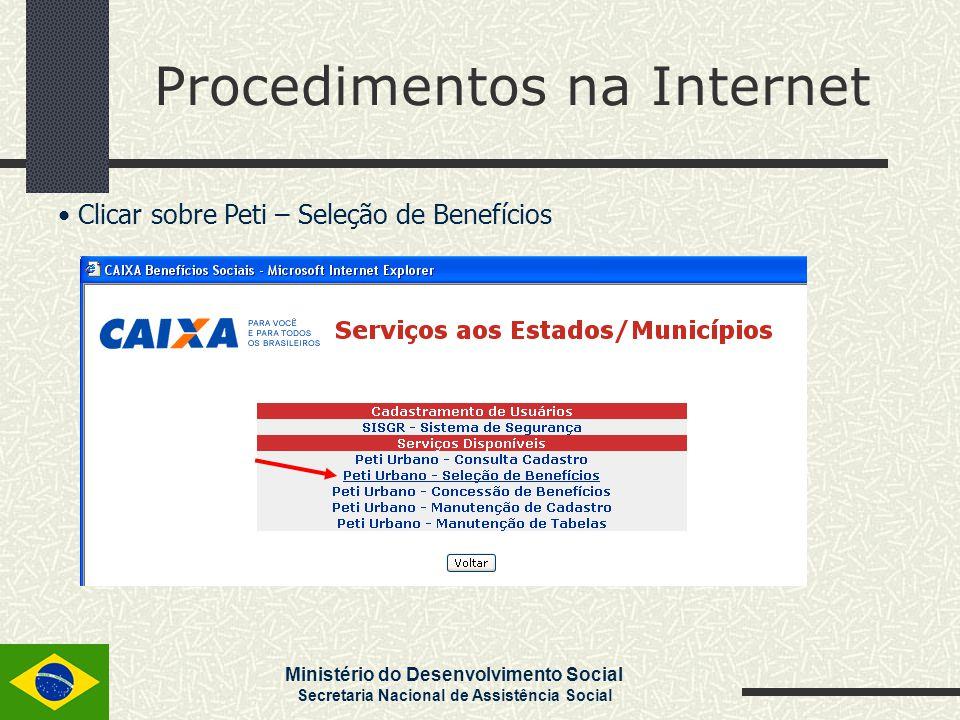 Ministério do Desenvolvimento Social Secretaria Nacional de Assistência Social Procedimentos na Internet Clicar sobre Peti – Seleção de Benefícios
