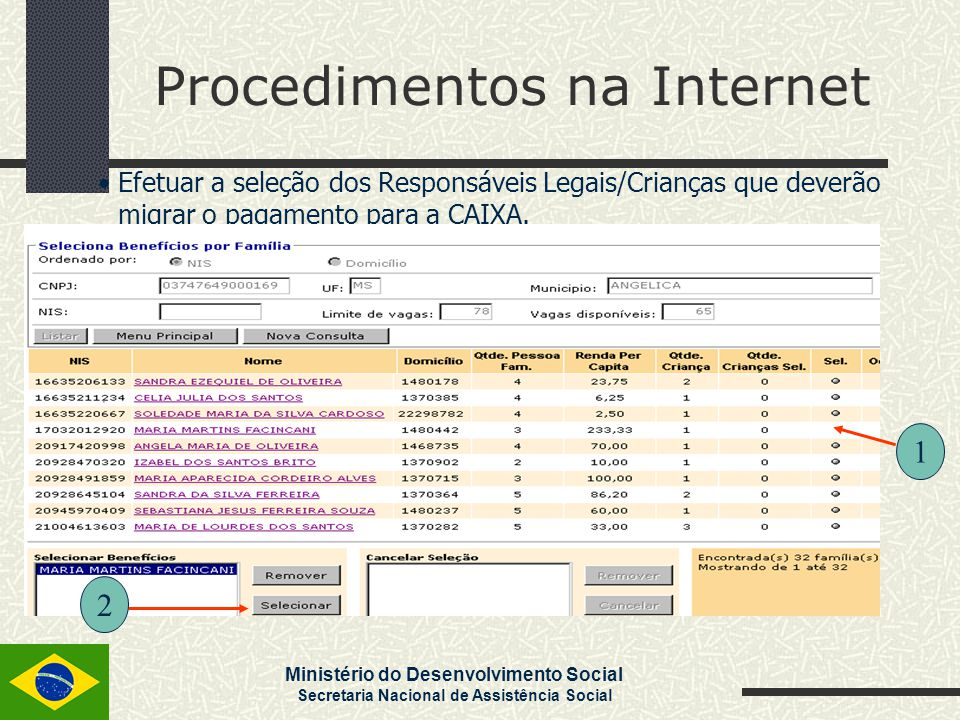 Ministério do Desenvolvimento Social Secretaria Nacional de Assistência Social Procedimentos na Internet Efetuar a seleção dos Responsáveis Legais/Cri