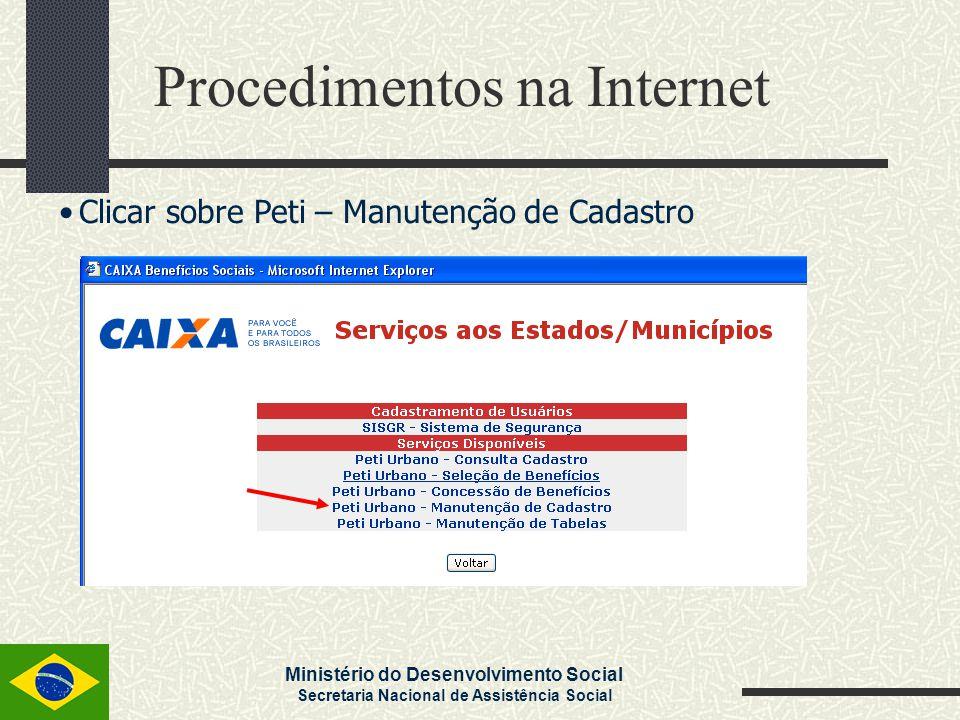 Ministério do Desenvolvimento Social Secretaria Nacional de Assistência Social Clicar sobre Peti – Manutenção de Cadastro Procedimentos na Internet