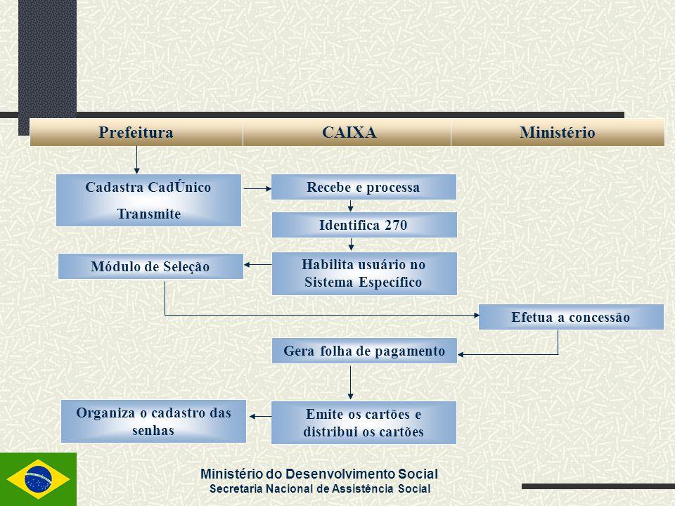 Ministério do Desenvolvimento Social Secretaria Nacional de Assistência Social PrefeituraCAIXAMinistério Cadastra CadÚnico Transmite Recebe e processa