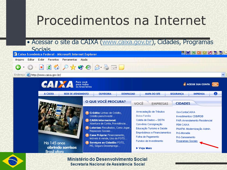 Ministério do Desenvolvimento Social Secretaria Nacional de Assistência Social Procedimentos na Internet Clicar sobre Programa de Erradicação do Trabalho Infantil – PETI