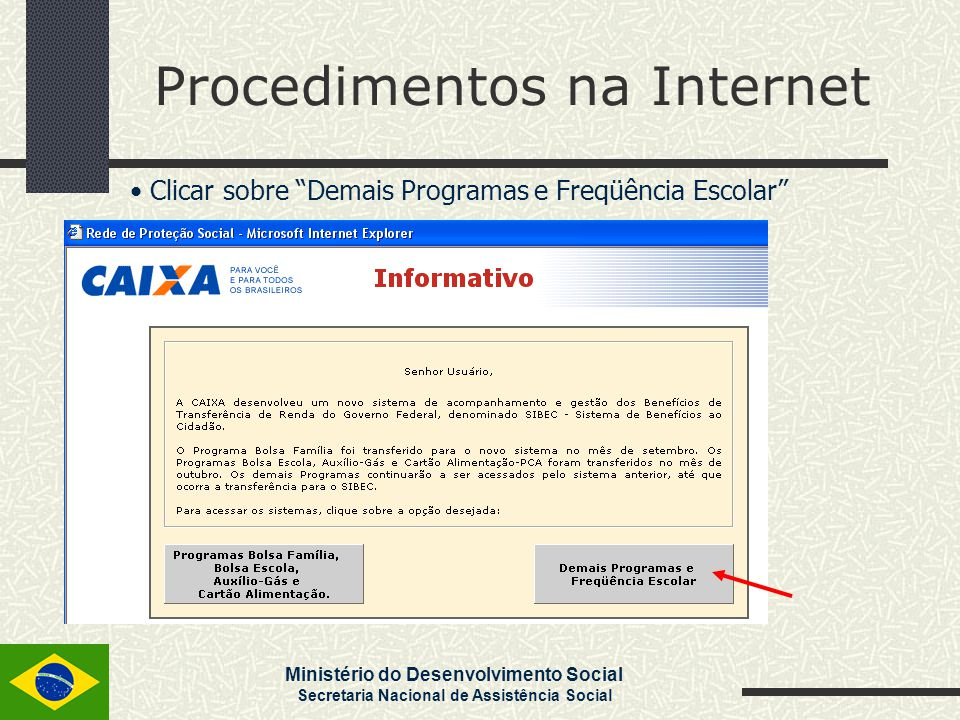 """Ministério do Desenvolvimento Social Secretaria Nacional de Assistência Social Procedimentos na Internet Clicar sobre """"Demais Programas e Freqüência E"""