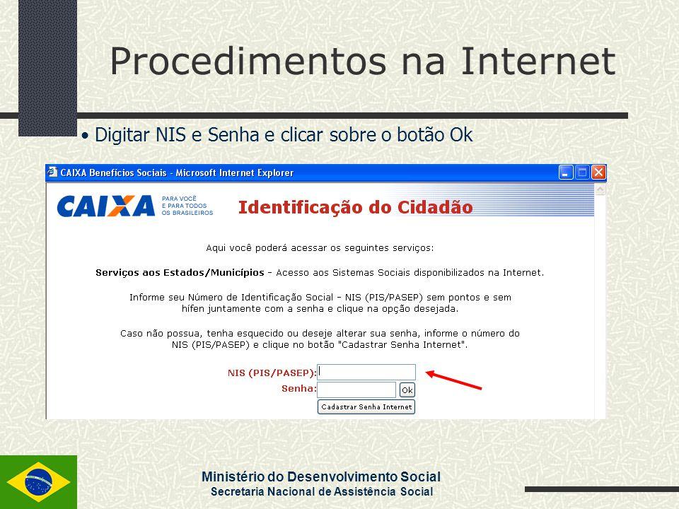 Ministério do Desenvolvimento Social Secretaria Nacional de Assistência Social Procedimentos na Internet Digitar NIS e Senha e clicar sobre o botão Ok