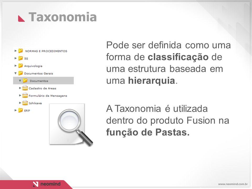Taxonomia Pode ser definida como uma forma de classificação de uma estrutura baseada em uma hierarquia.