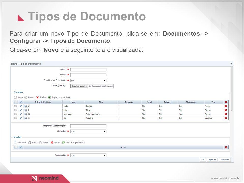Tipos de Documento Para criar um novo Tipo de Documento, clica-se em: Documentos -> Configurar -> Tipos de Documento.
