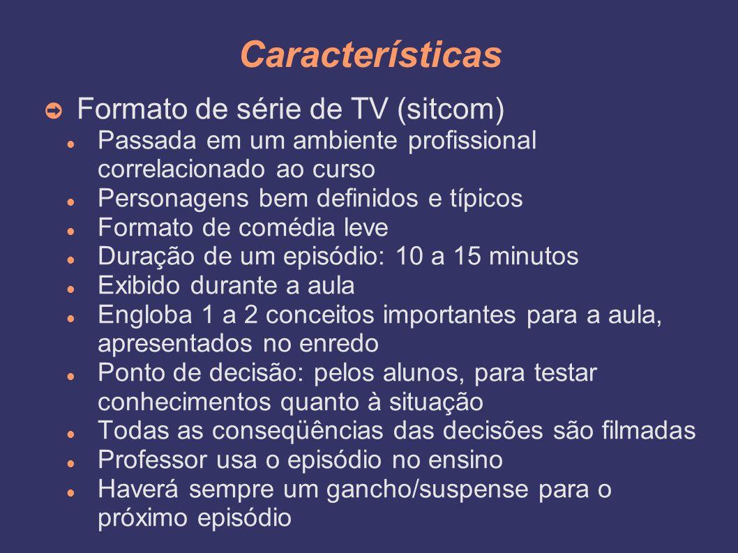 Características ➲ Formato de série de TV (sitcom) Passada em um ambiente profissional correlacionado ao curso Personagens bem definidos e típicos Form