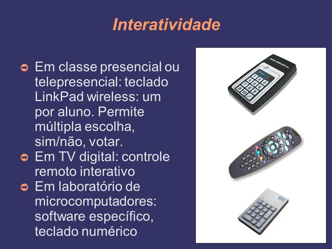 Interatividade ➲ Em classe presencial ou telepresencial: teclado LinkPad wireless: um por aluno. Permite múltipla escolha, sim/não, votar. ➲ Em TV dig